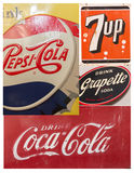 Collage of vintage soft drink signs/symbols Stock Photos