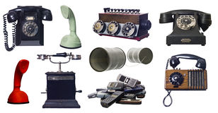Collage of vintage telephones Royalty Free Stock Images