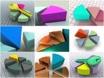 Collage von 9 dreidimensionalen Diagrammen. Ikonen. Stockbild