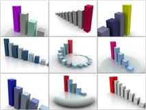 Collage von 9 dreidimensionalen Zeitplänen. Ikonen. Stockfotografie
