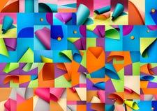 Collage von abstrakten Hintergründen von farbigem Papier bedeckt Lizenzfreies Stockbild