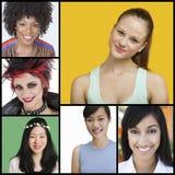 Collage von attraktiven Frauen von verschiedenen Ethnien Lizenzfreie Stockfotografie