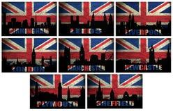 Collage von berühmten englischen Städten Lizenzfreies Stockbild