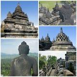 Collage von Bilder Buddist-Tempel Borobudur Yogyakarta Java, herein Stockfotografie