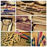Collage von Bildern eines Klassenzimmers und des Textes zurück zu Schule Lizenzfreies Stockbild