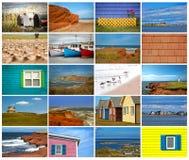 Collage von Bildern von magdalen Insel in Kanada Stockbild