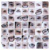 Collage von Bildern mit Augen Stockfotos