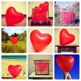 Collage von Bildern von Herz-förmigen Ballonen schoss durch mich Lizenzfreie Stockfotografie