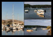 Collage von Booten und von Yachten stockfotografie