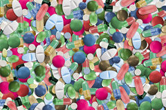 Collage von bunten Pillen Stockfoto