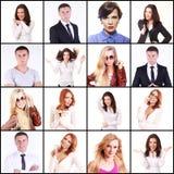 Collage von den überzeugten Angestellten, die Kamera betrachten Stockfotografie