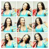 Collage von den Ausdrücken der jungen Frau zusammengesetzt stockbild