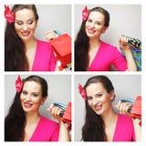 Collage von den Ausdrücken der jungen Frau zusammengesetzt stockfotos