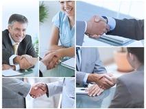 Collage von den Bildern, die Geschäftsleute zeigen Stockbild