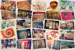 Collage von den Fotos beim Reisen gemacht in Japan auf japanischem Papier getont Lizenzfreie Stockfotografie