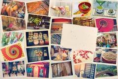 Collage von den Fotos beim Reisen gemacht in Japan vor dem hintergrund des japanischen Papiers getont Stockbilder