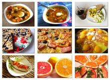 Collage von den Fotos der verschiedenen Teller Lizenzfreies Stockbild