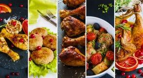 Collage von den Fotos von verschiedenen Tellern mit Huhn Lizenzfreies Stockfoto