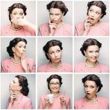 Collage von den Gesichtsausdrücken der jungen Frau zusammengesetzt lizenzfreies stockfoto