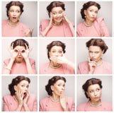 Collage von den Gesichtsausdrücken der jungen Frau zusammengesetzt stockfotos
