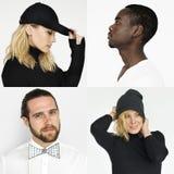 Collage von den Hippie-Leuten, die Geste aufwerfen Stockfoto