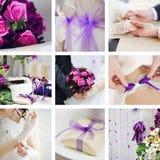 Collage von den Hochzeitsfotos Lizenzfreie Stockfotografie