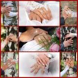 Collage von den Hochzeitsfotos. Neun in einem Stockfotos