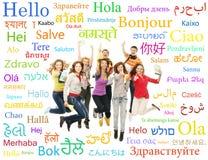 Collage von den Jugendlichen, die mit Wörtern springen Lizenzfreies Stockfoto