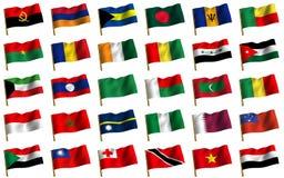 Collage von den Markierungsfahnen der verschiedenen Länder Lizenzfreie Stockfotos