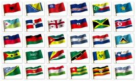 Collage von den Markierungsfahnen der verschiedenen Länder Lizenzfreie Stockbilder