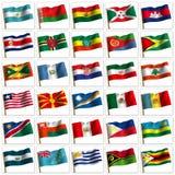Collage von den Markierungsfahnen der verschiedenen Länder. Stockbilder