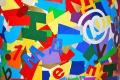 Collage von den mehrfarbigen Zeichen Lizenzfreie Stockfotografie