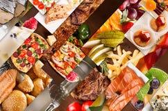 Collage von den verschiedenen Bildern des Lebensmittels Stockfotos