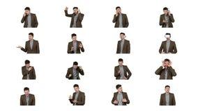 Collage von den Videobildern des brunette Mannes lokalisiert auf Wei? stock footage