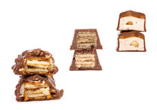 Collage von drei Schokoladenstapeln. Stockfoto