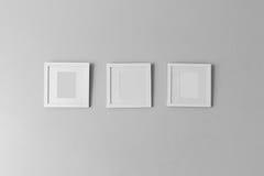Collage von drei weißen Fotorahmen Stockfotos