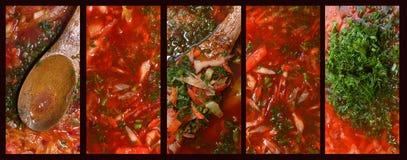 Collage von fünf Fotos Der Prozess des Kochens des roten Borscht stockbild