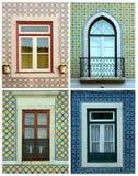Collage von Fenstern in Portugal mit Fliesen Stockbild