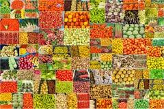 Collage von Fotografien des Gemüses und der Früchte Stockfotos