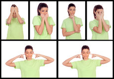 Collage von Fotos von einer Frau, die verschiedene Gefühle ausdrückt Stockfotografie