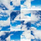 Collage von Fragmenten auf blauem Himmel Lizenzfreie Stockfotografie