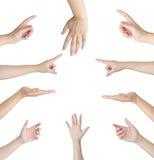 Collage von Frauenhänden auf weißen Hintergründen lizenzfreie stockfotografie