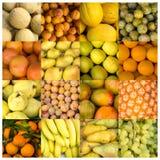 Collage von gelben und orange Früchten Stockbild