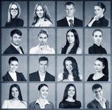 Collage von Geschäftsleuten im Quadrat stockbild