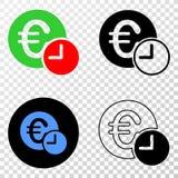 Collage von Gradiented punktierte Eurokredit-Zeit und Grunged-Stempel lizenzfreie abbildung