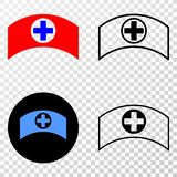 Collage von Gradiented punktierte medizinische Kappe und Grunged-Stempel vektor abbildung