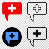 Collage von Gradiented punktierte medizinische Mitteilungs-Andeutung und Grunged-Stempel vektor abbildung