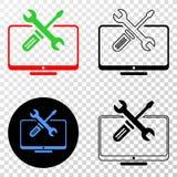 Collage von Gradiented punktierte Tischplattenwerkzeuge und Grunged-Stempel vektor abbildung