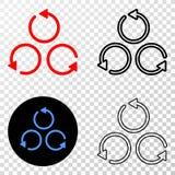Collage von Gradiented punktierte unterschiedliche Rotation und Grunged-Stempel stock abbildung