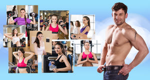Collage von hübschen Mädchen und von jungem Kerl Stockbilder